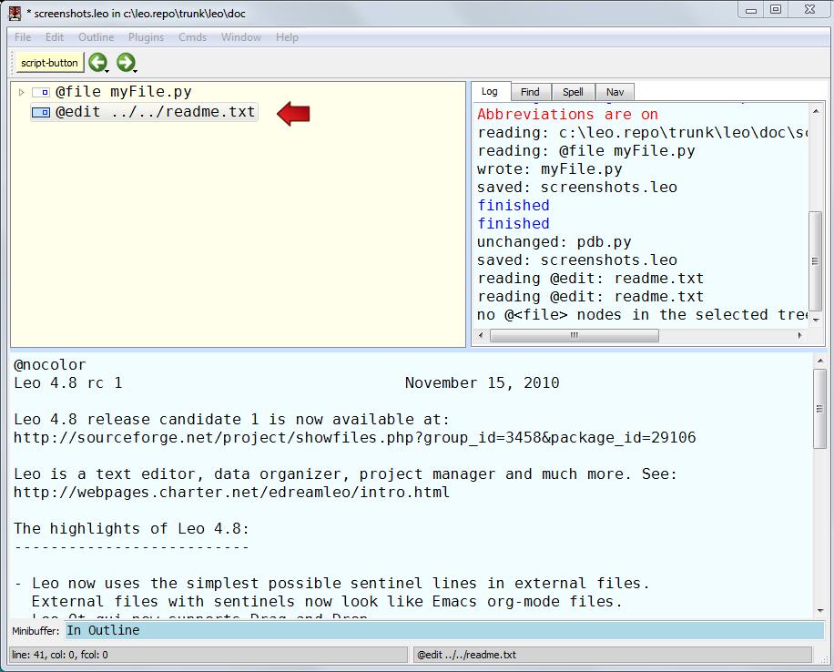 Using @edit nodes — Leo v4 8 documentation